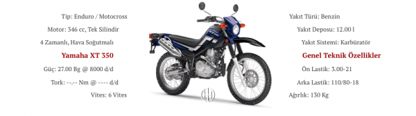 Yamaha XT 350 (1985 - 2000) - Motodeks