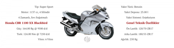 Honda CBR 1100 XX Blackbird (1999 - 2006) - Motodeks