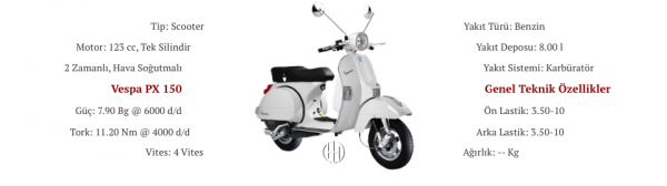 Vespa PX 150 (2012 - 2015) - Motodeks