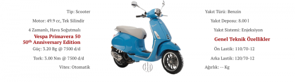 Vespa Primavera 50 50th Anniversary Edition (2018) - Motodeks