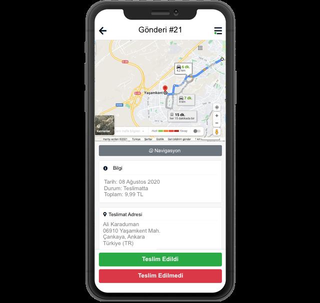Motodeks Go Sürücü Gönderi Bilgi Ekrani